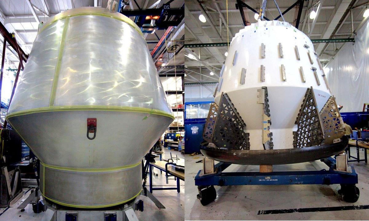 On the left is the Dragon mock-up for the launch pad abort test, on the right is the Dragon mock-up for the in-flight abort test (Photo: SpaceX)