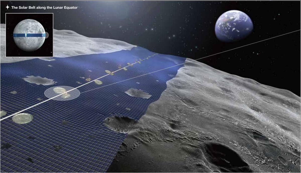 Shimizu's Luna Ring proposes an an array of solar cells around the moon's equator to harvest solar energy and beam it back to Earth (Image: Shimizu Corporation)