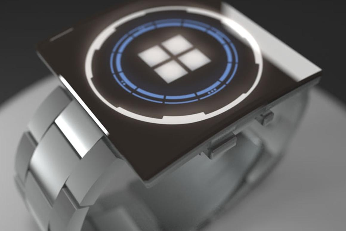 The square LED face is countered by a circular dial clearly inspired by science fiction films