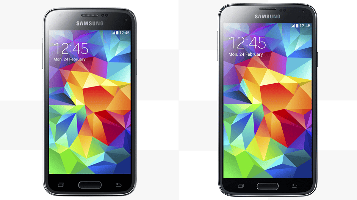 The Samsung Galaxy S5 (right) and its newly announced Galaxy S5 mini sibling (left)