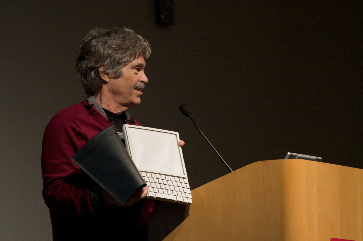 Dr. Alan Kay showcasing a Dynabook prototype