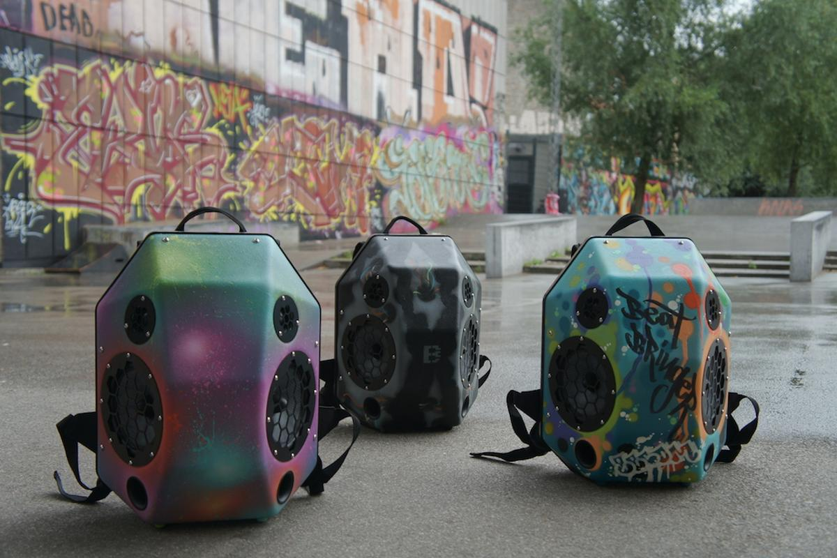 The BeatBringer backpack speaker will be available with custom paint jobs by graffiti artist Becomeone, as a special tier during an upcoming Kickstarter campaign