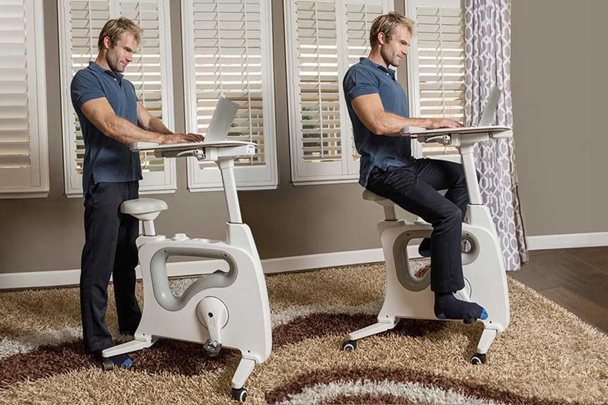The Deskcise Pro can be used as a standing desk or a cycle desk