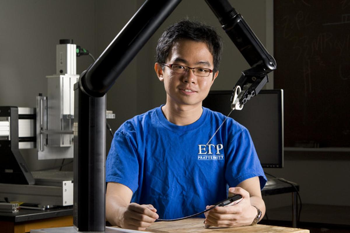 Kaicheng Liang, a recent graduate who worked on the biopsy robot (photo courtesy of Duke Photography)
