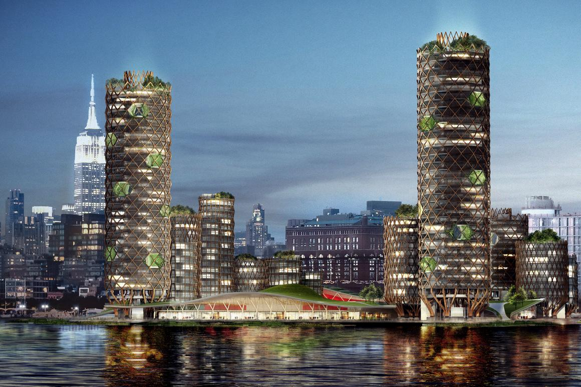 The proposed Pier 40development would comprise 19 timber towers, designed to remain in use even when sea levels rise
