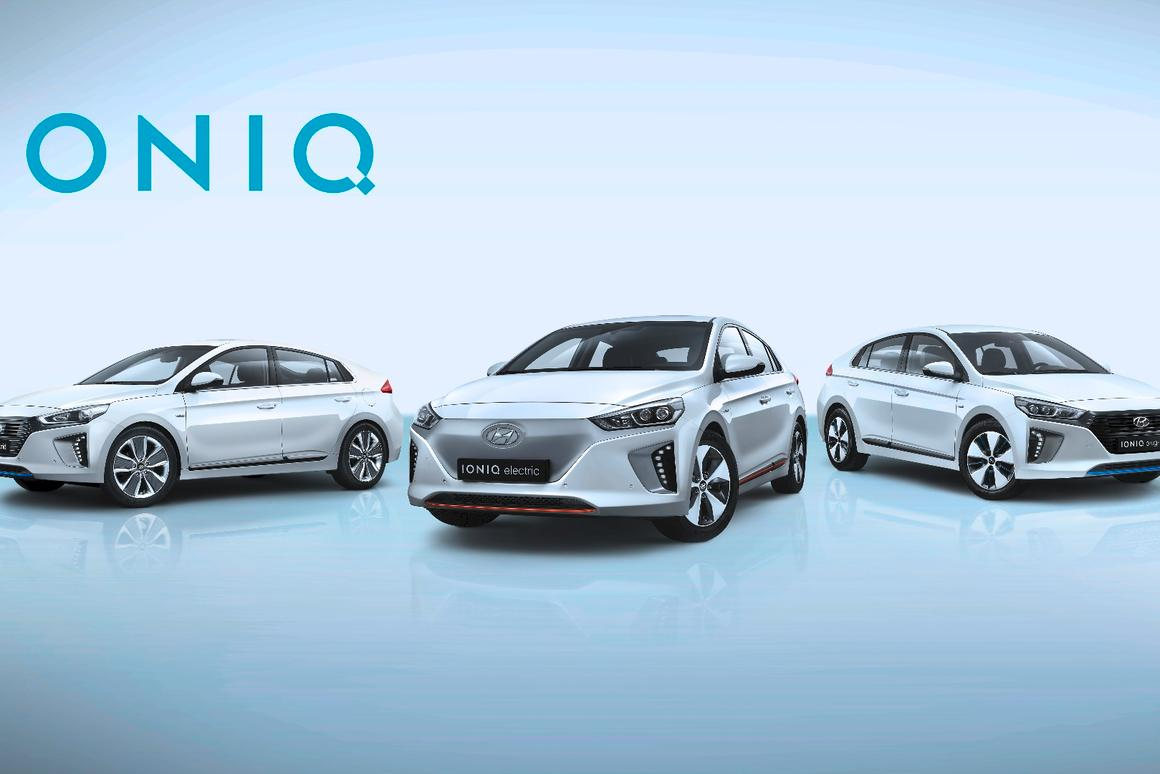 The Hyundai IONIQ Hybrid and Plug-in Hybrid are centered on a new chassis design and a new 1.6-liter Kappa GDi engine with high thermal efficiency, while the new electric version of the IONIQ features 155 miles of range