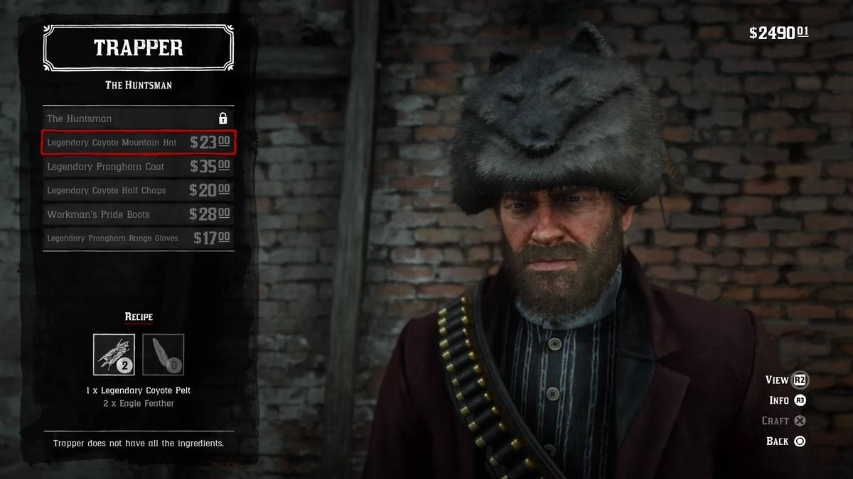 The trapper will make you a mountain hat and half chaps out of your Legendary Coyote pelt
