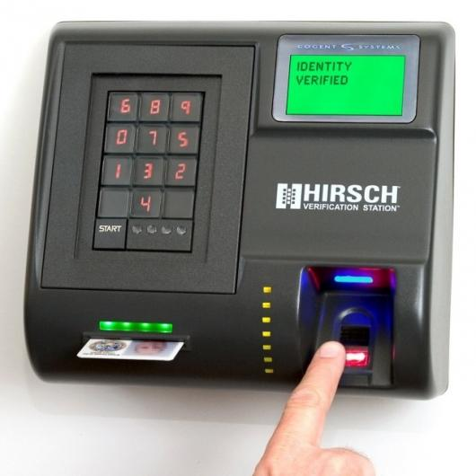 Hirsch Verification Station authenticates identity by smart card, identification number and fingerprints.