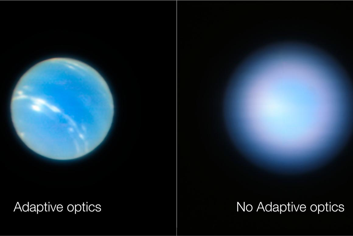 Images showing Neptune captured using the new adaptive optics mode, and another with it switched off