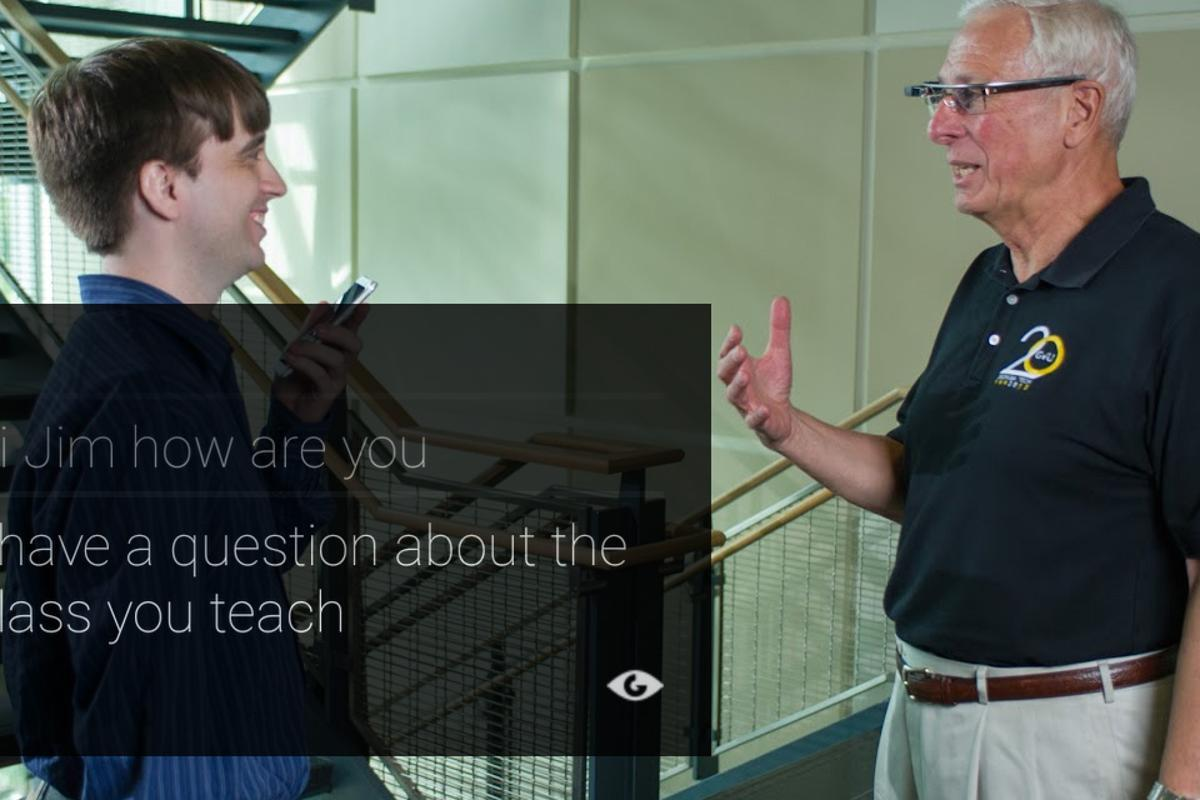 Captioning on Glass lets wearers see transcriptions of a conversation on their screens