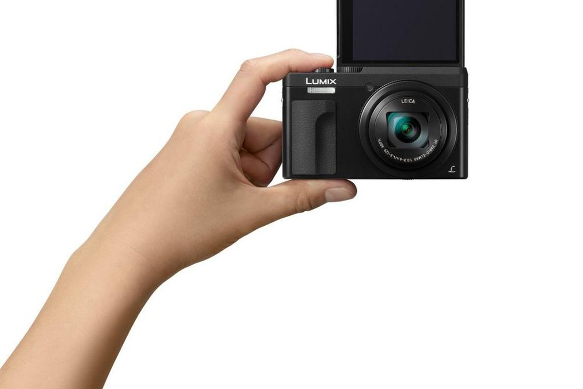 The the touchscreen of the Lumix DC-ZS70 (TZ90) is flipped up, the camera automatically enters Self Shot mode