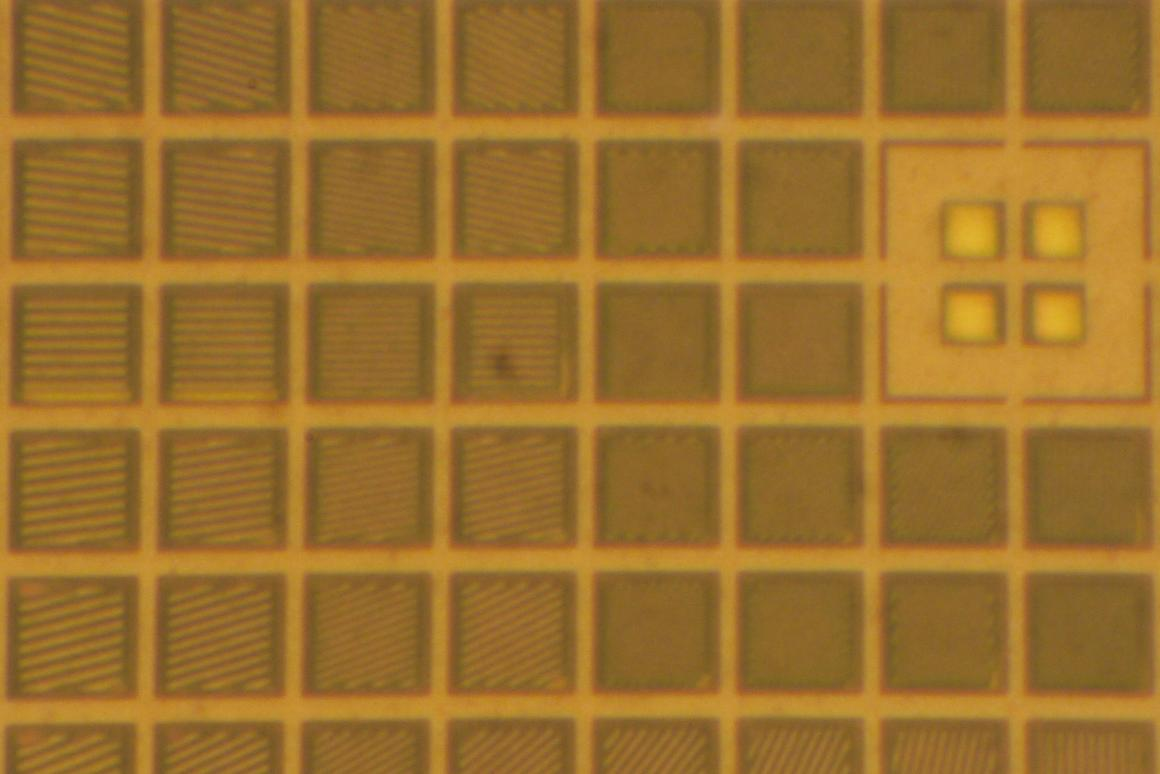 The left-center of a PFCA - note how each pixel has a unique set of optical gratings that radiate outwards from the middle (Photo: Patrick Gill)