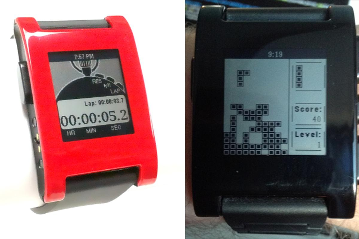 A stopwatch design and Tetris-like game (Pebblis) developed using Pebble's recently released SDK (Photo: Michael Regan)