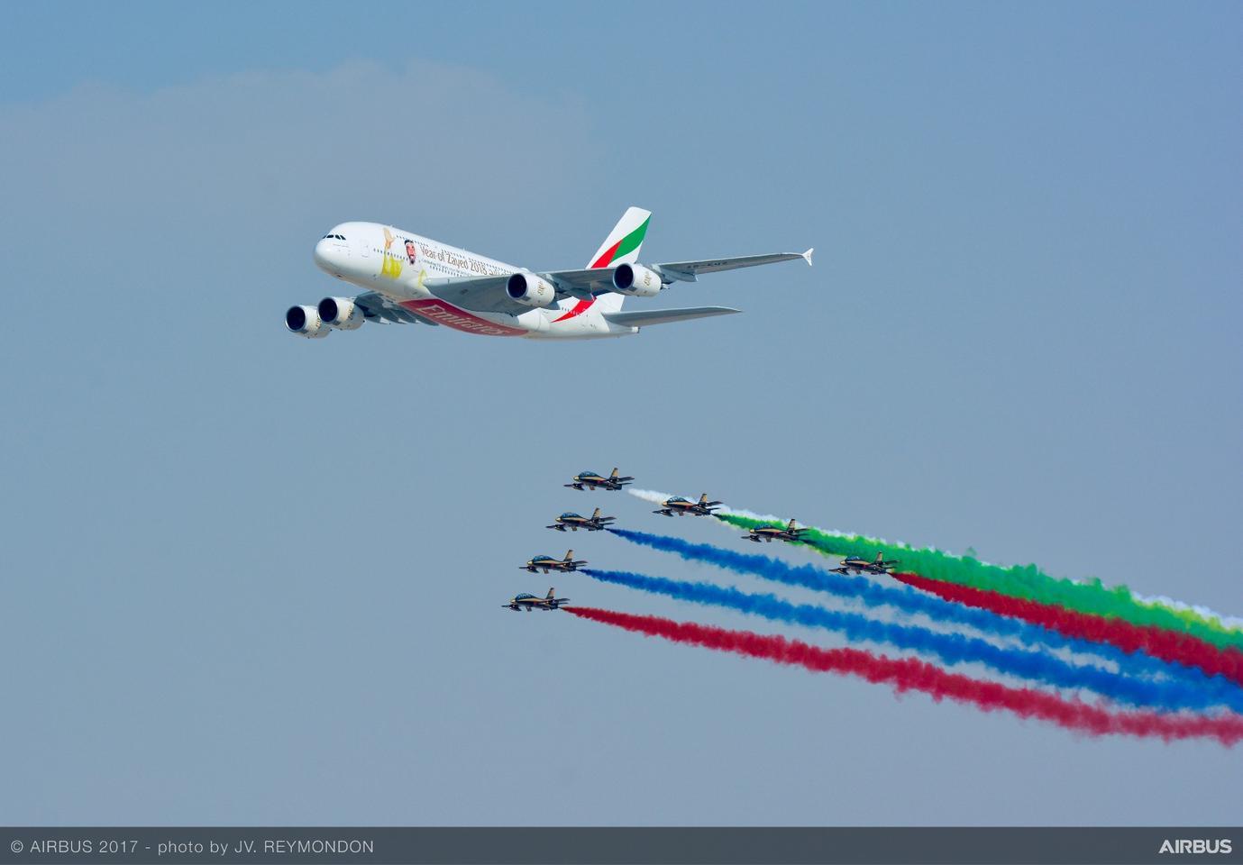 An A380 at the 2017 Dubai Air Show