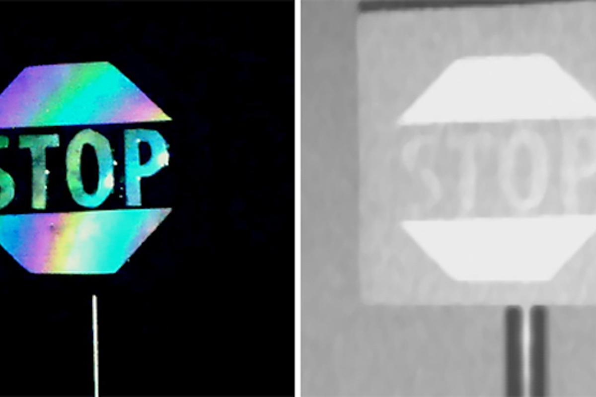 Left: a visible light image of a Stop sign covered in the new microscale concave interface (MCI) material. Right: a LIDAR image of the same sign.