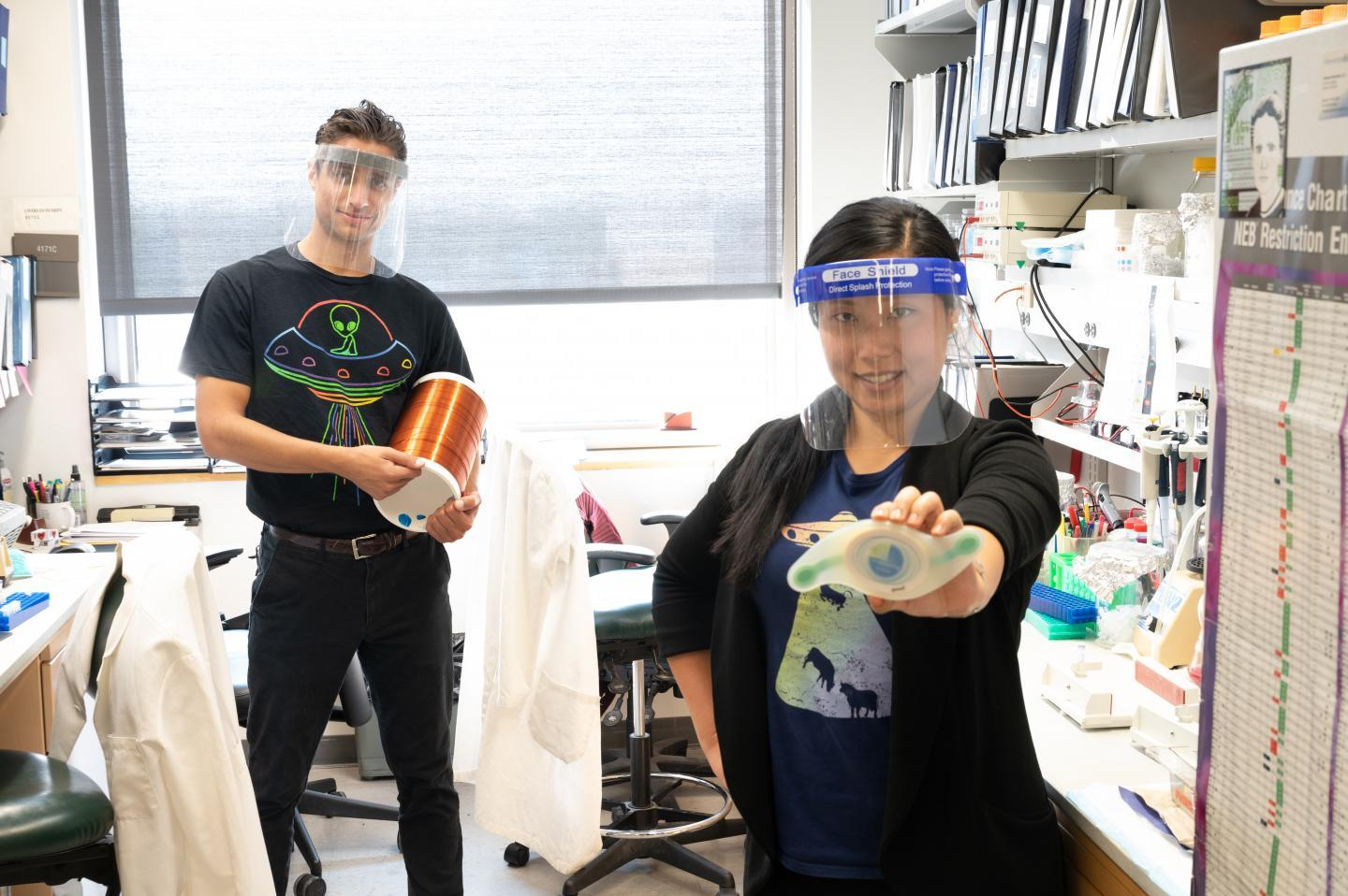 Study authors Calvin Carter and Sunny Huang in the lab at the University of Iowa