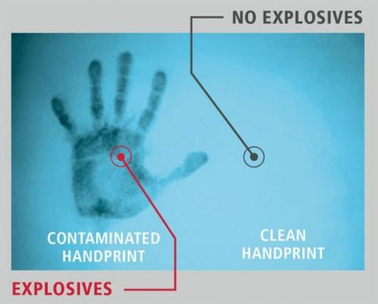 The hand on the left is visible due to the presence of explosive material. The hand on the right does not show up at all.