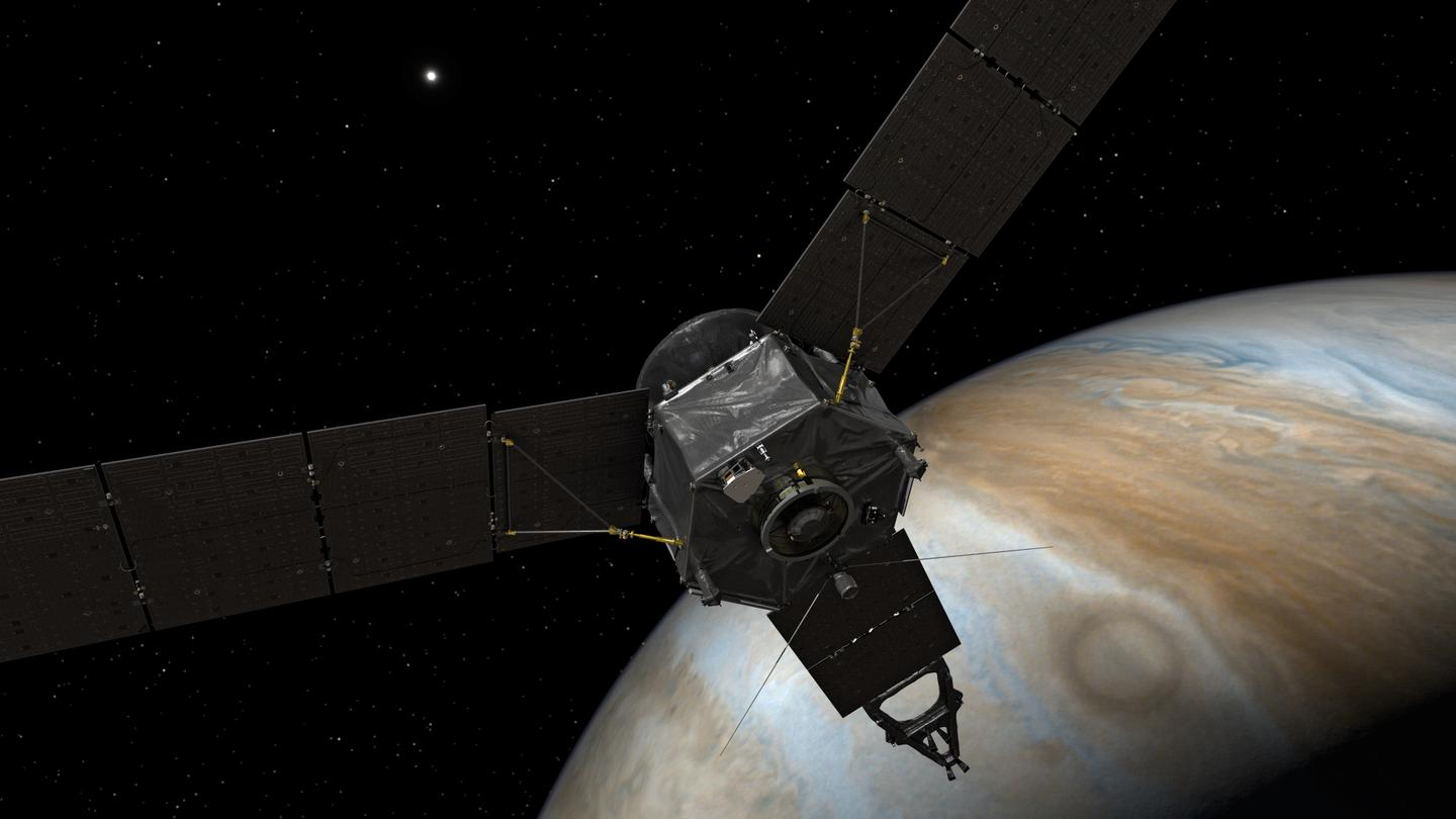 Artist's impression of Juno in orbit around Jupiter