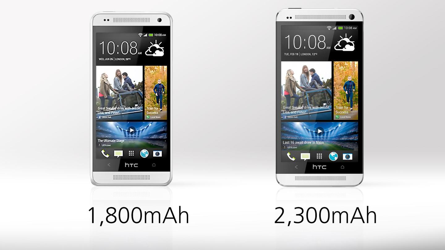 The One mini's battery doesn't hold as much juice, but it's also powering a lot less pixels