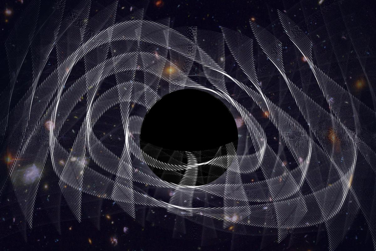 "An artist's illustration of a black hole ""ringing"""