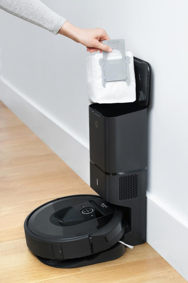 Dust and debris is stored in the Clean Base Automatic Dirt Disposal unit in a sealed bag