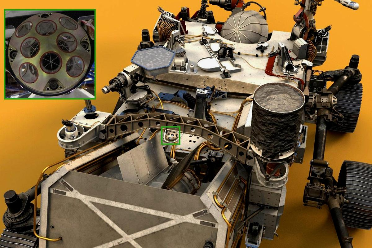 A photo of NASA's Perseverance rover with the retroreflector highlighted in the inset image