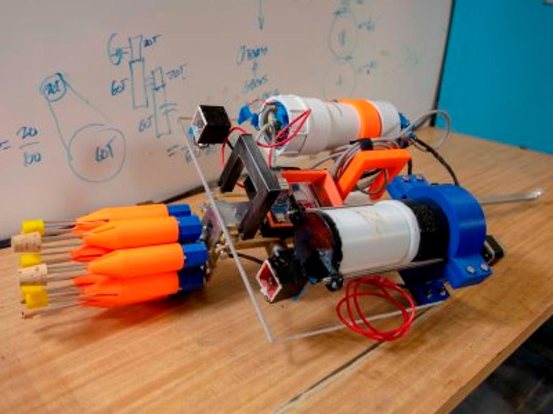 The WPI lionfish-hunting robot showing the spears