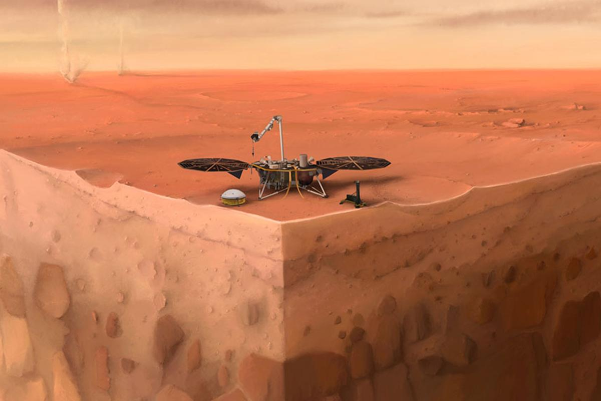 An artist's impression of the InSight lander, along with a cross section of Mars' subsurface layers that it was hoping to explore