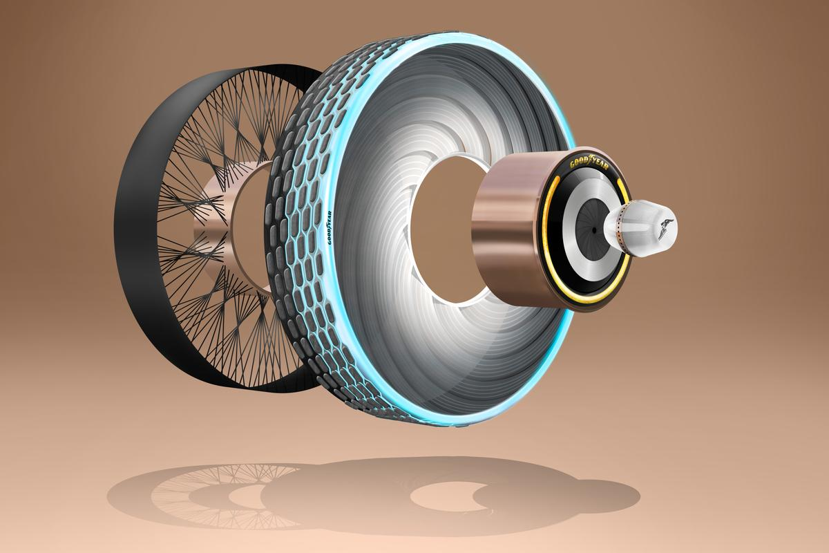For Goodyear's reCharge concept the wheel architecture would hopefully flex a little to replace the ride comfort of a pneumatic tire