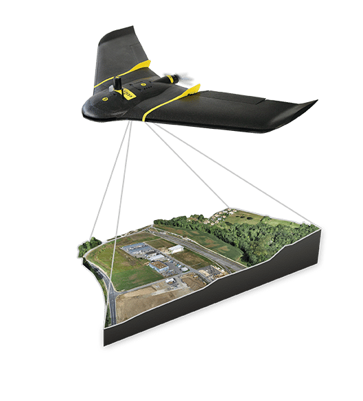 The drone can snap images with a spatial resolution of 2.9 cm (1.1 in) while flying at an altitude of 122 m (400 ft)