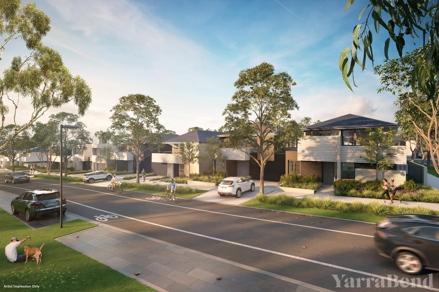 Yarrabend's streets will have a kerbless design that is said to be inspired by Scandinavian bike-friendly cities