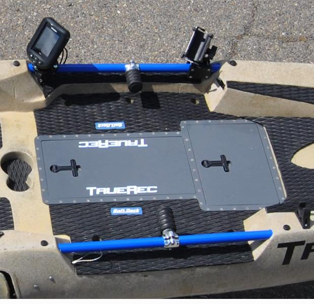 The DFP features a below-the-deck storage compartment, and a rail system for mounting gadgets such as fish finders