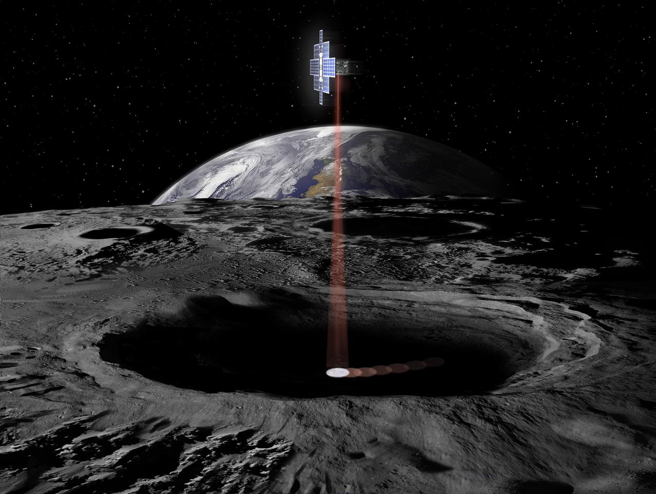 An artist's concept of the Lunar Flashlight in action