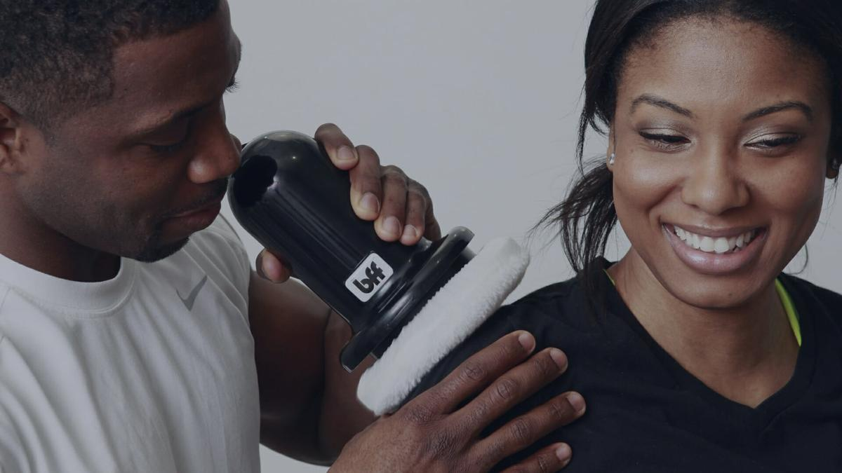 With the BFF you canbuff yourself, or buff your friends with a powerful, deep-tissue massage