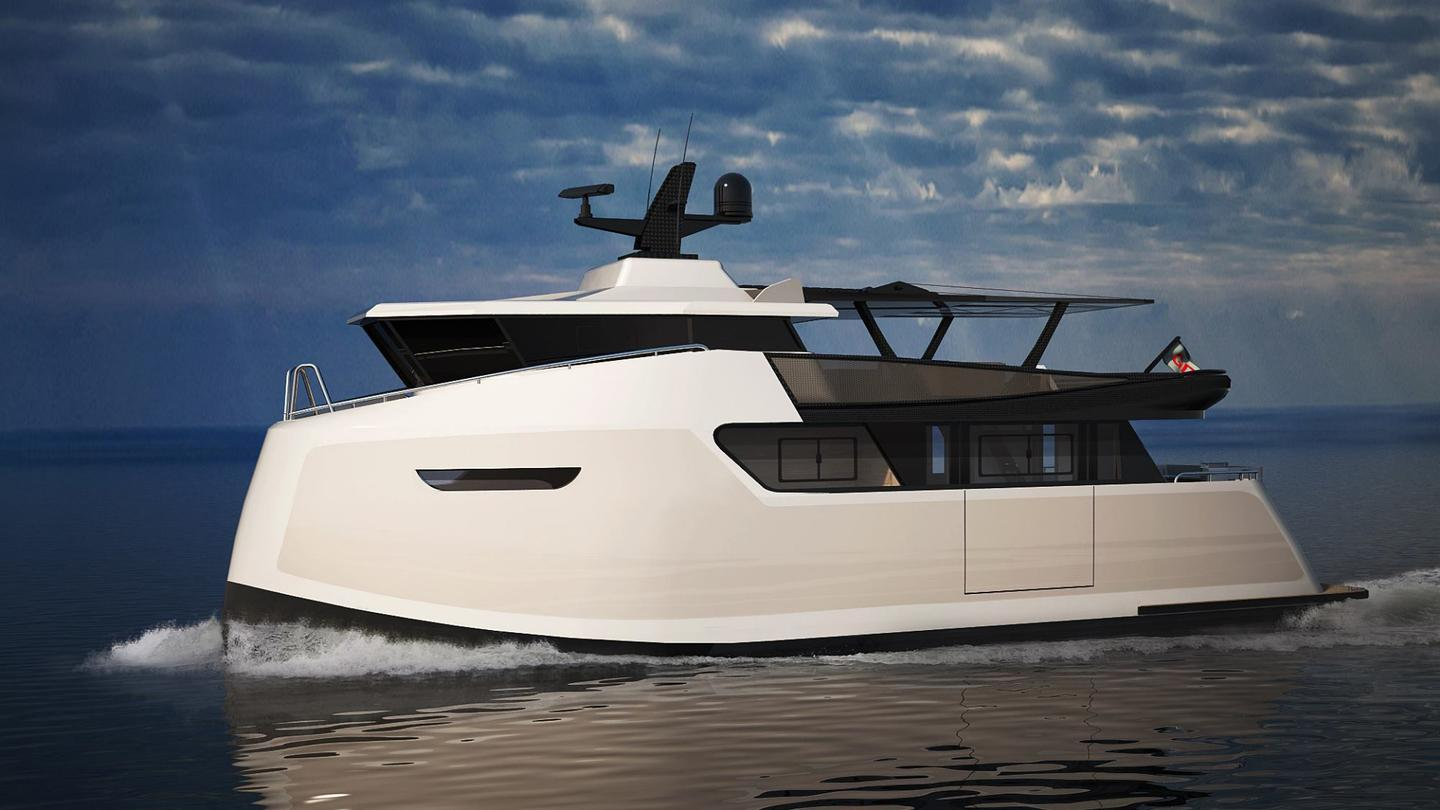 """Baikal makes monohulls, catamarans and even trimarans, with this 16 meter steel motor yacht designed for """"excellent seaworthiness"""""""