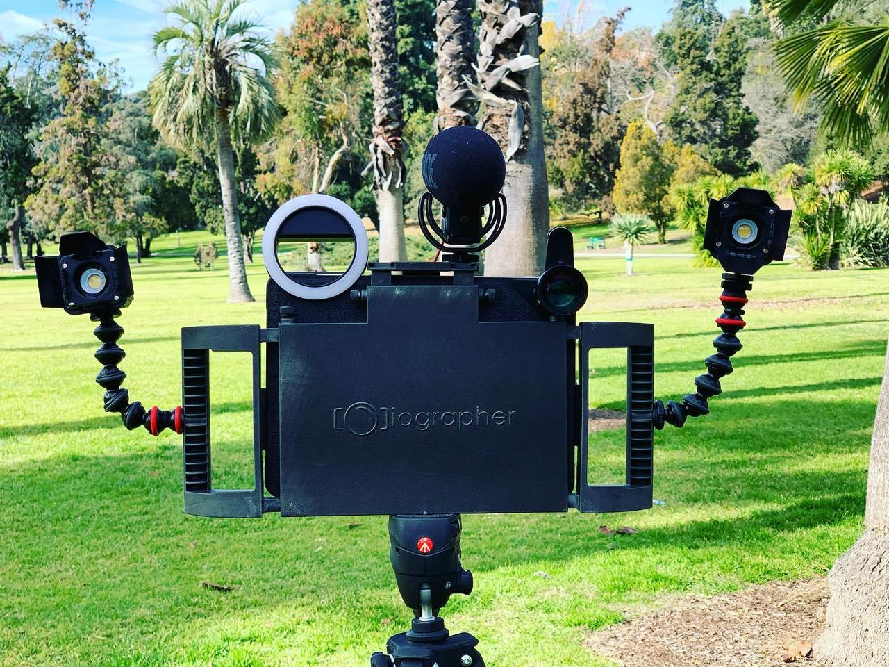 The iOgrapher Pro, all decked out with third-party accessories