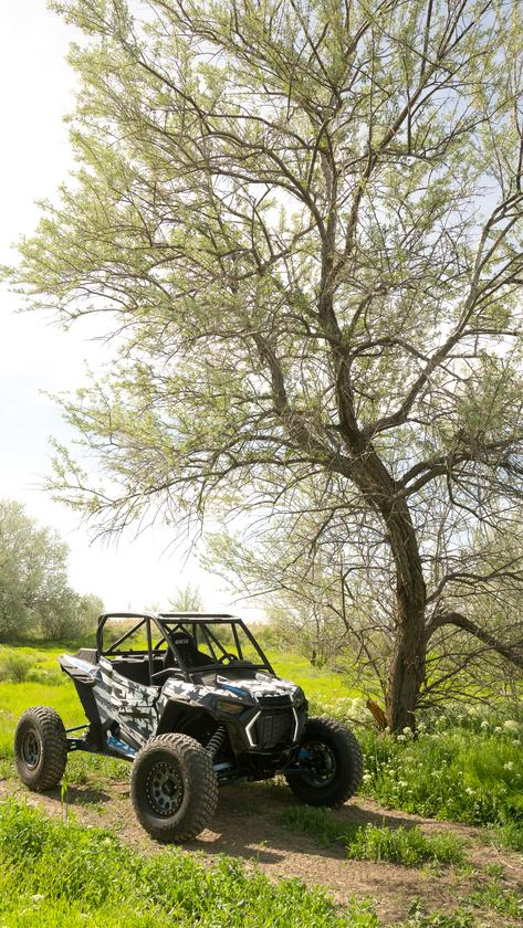 Tanner's souped-up Polaris RZR, ready for the jump