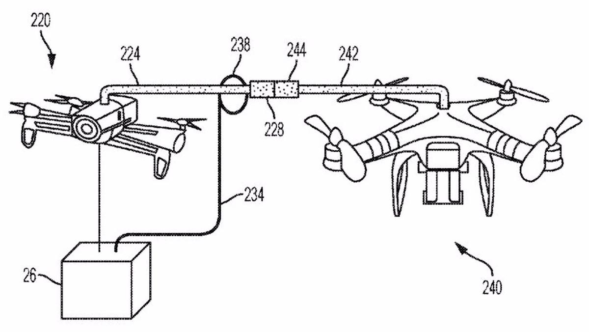 IBM's patent details how packages could be transferred between drones in mid air