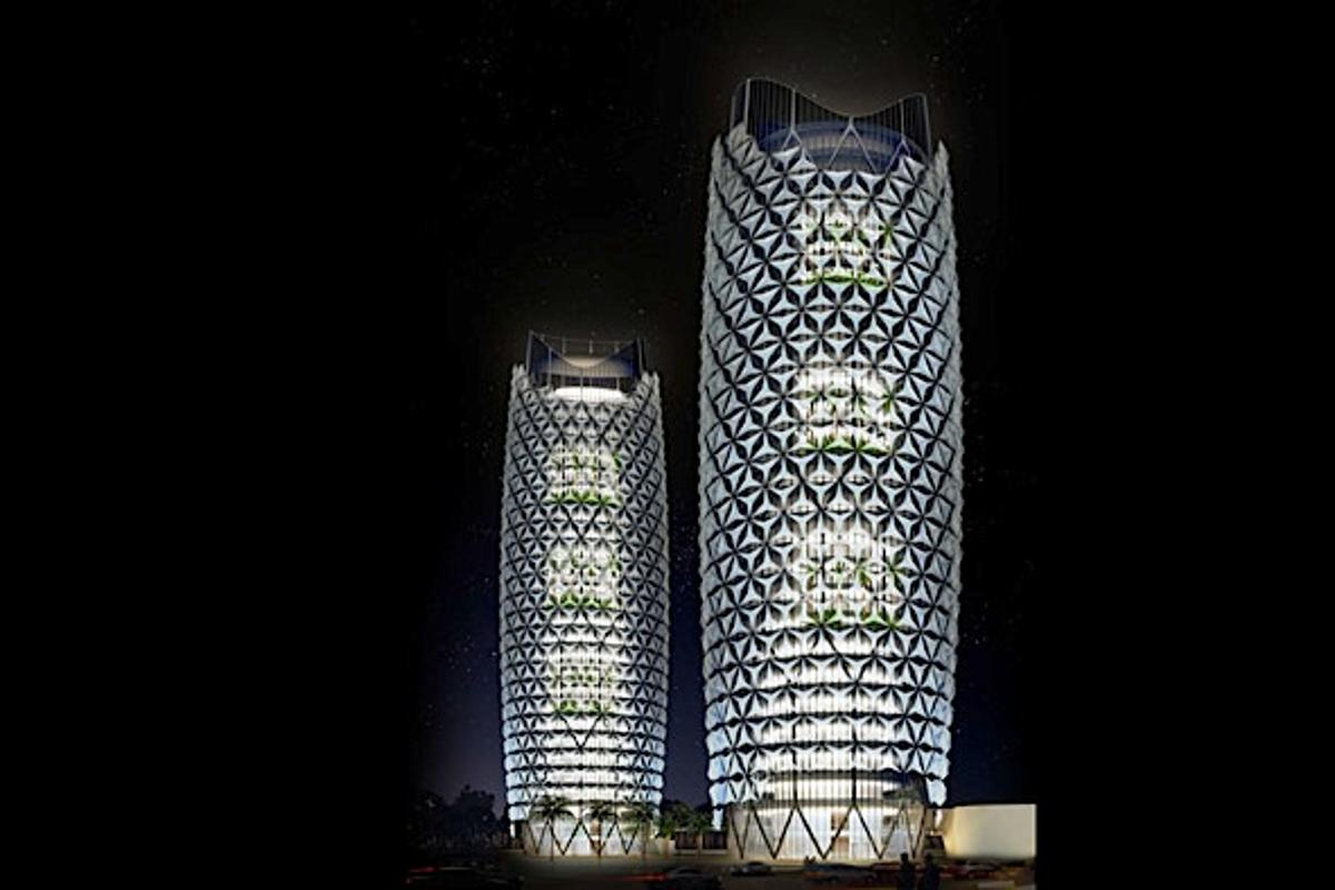 The Al Bahar Towers at night