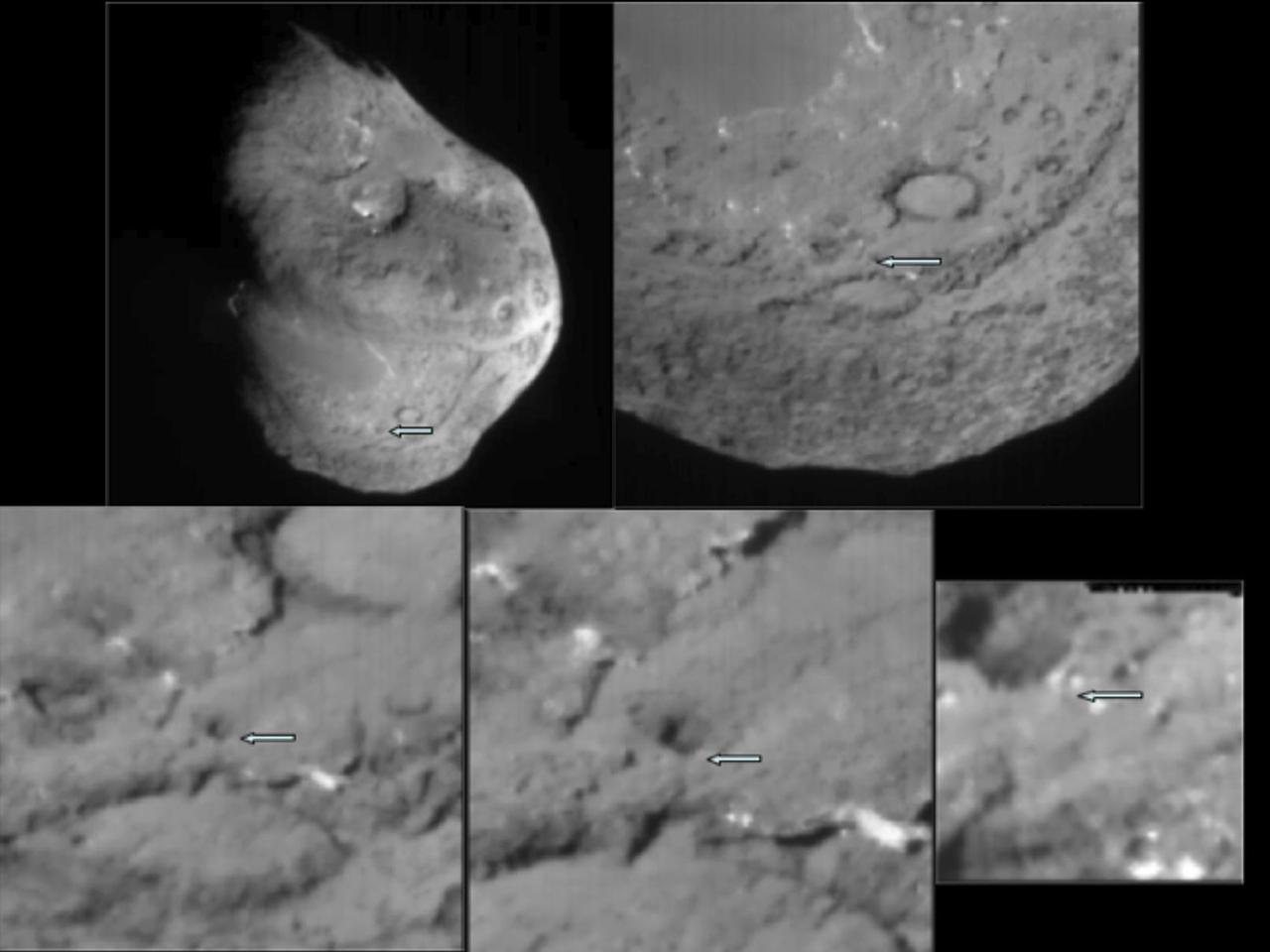 A series of images showing the area where NASA's Deep Impact probe collided with the surface of comet Tempel 1 in 2005 (Credit: NASA)