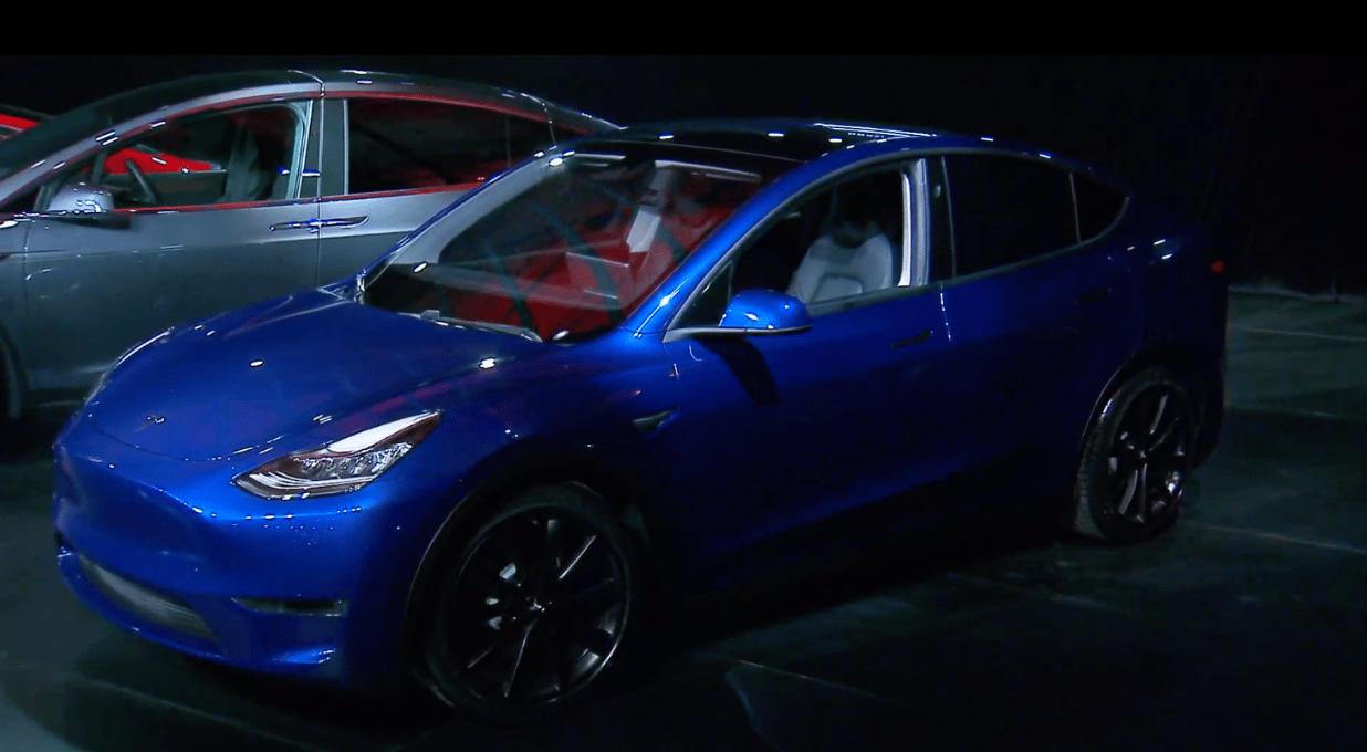 The Tesla Model Y on stage in LA