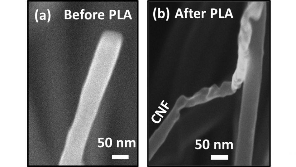 (Left) the carbon nanowire before the pulsed laser annealing (PLA) process turned it into diamond fiber (right)