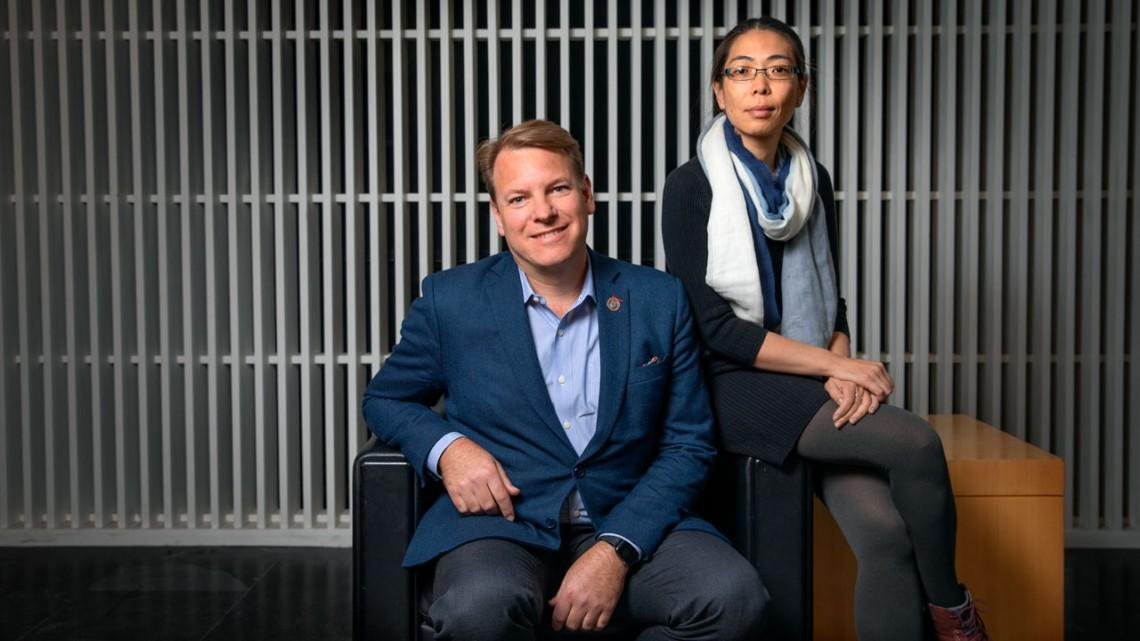 Chris Schaffer, left, and Nozomi Nishimura, associate professors in the Meinig School of Biomedical Engineering, are behind promising new research into Alzheimer's
