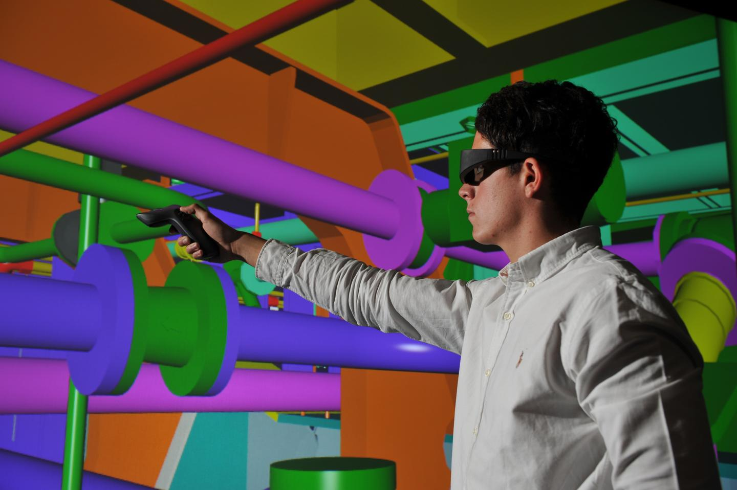 The BAE VR system is based on laser tracking and an interactive wand