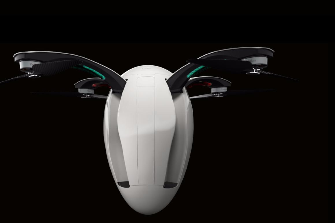 The PowerEgg unfolds to reveal a fully-functional quadcopter