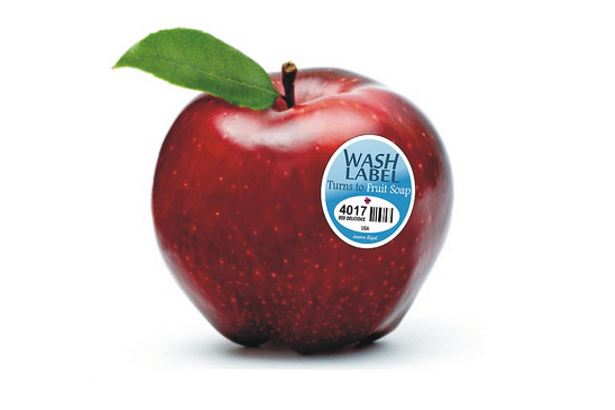 Fruitwash labels dissolve into organic fruit soap (image: Amron Exptl.)