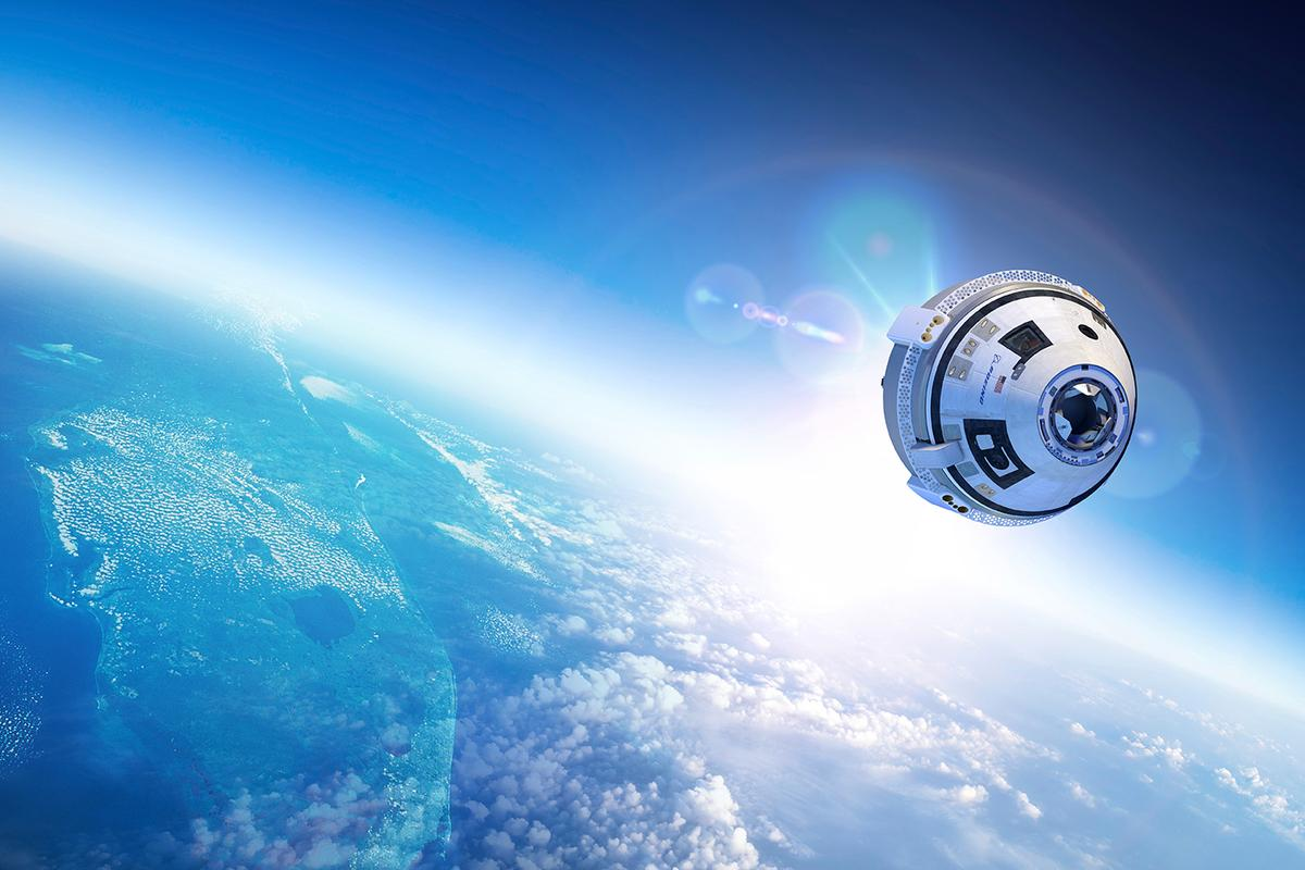 Artist's concept of the CST-100 AKA Starliner passing over Florida