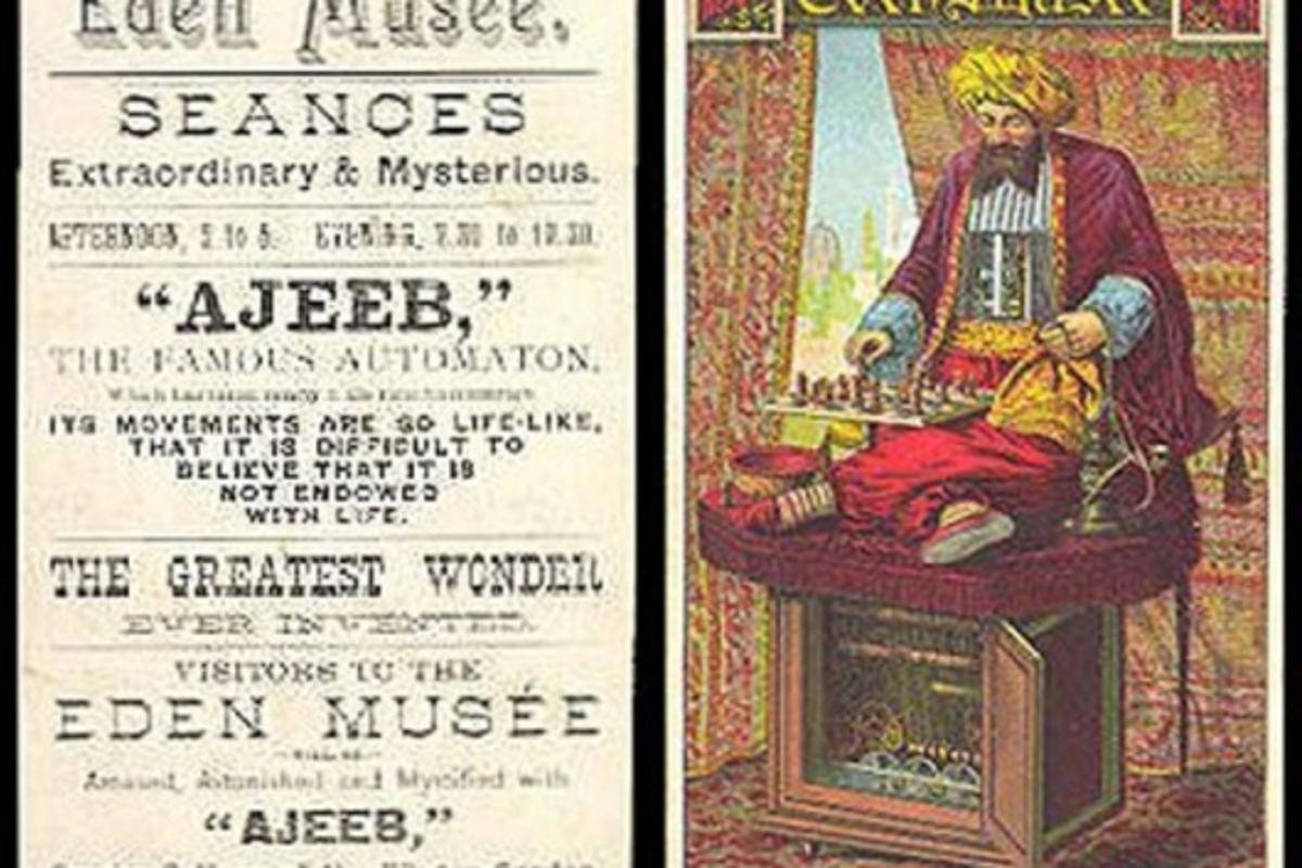 An ad for an exhibition of Ajeeb - an imitation of the Turk
