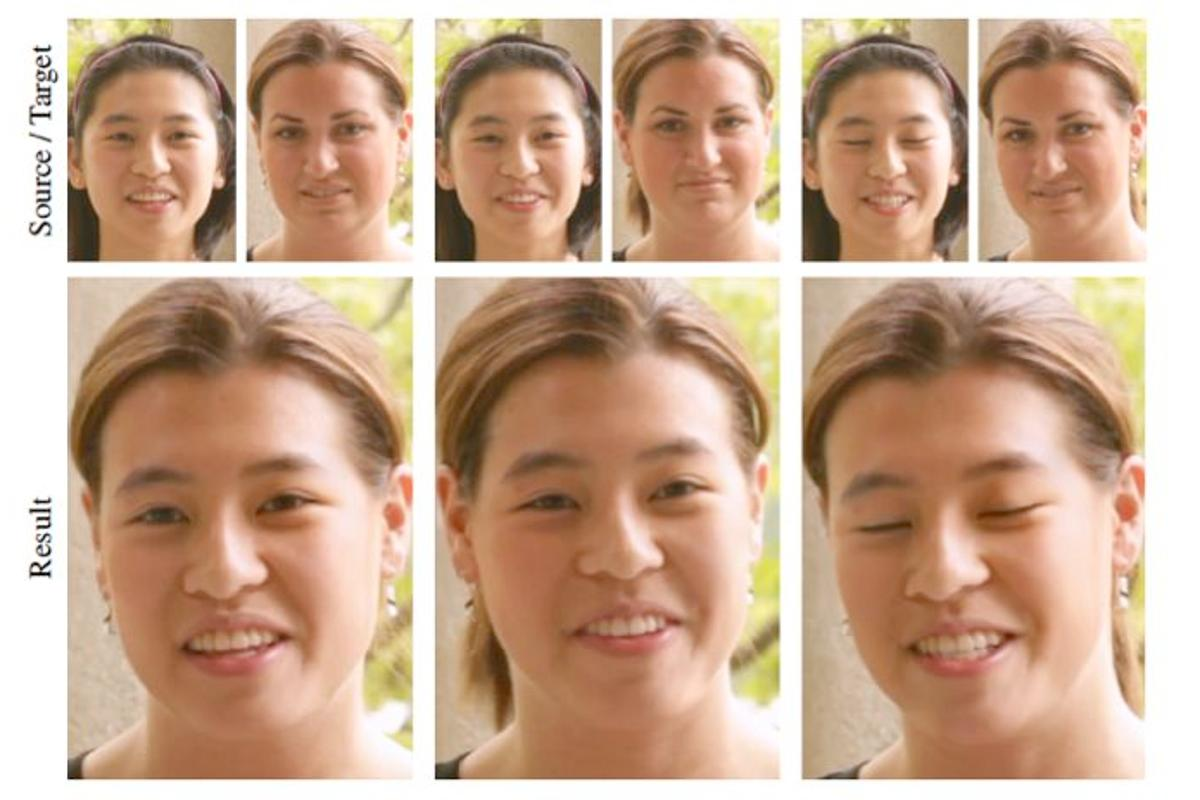 "A Harvard computer scientist has created a digital ""face transplant"" system, that could be used by amateur and low-budget film-makers (Images: Association for Computing Machinery)"