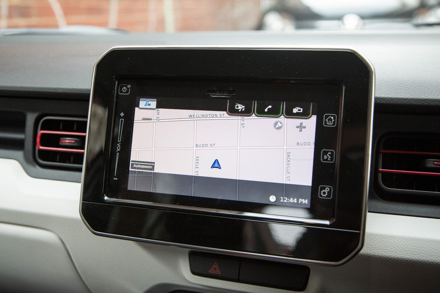The navigation screen in the Suzuki Ignis